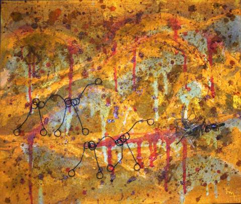 Désert (peinture, sable, métal... et scorpion - Desert (pintura, arena, metau... e escòrpi - h. 47 cm