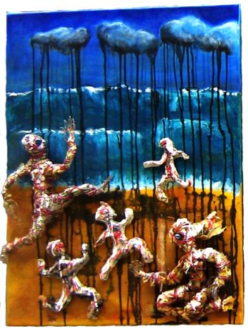 La plage (peinture et papier journal sur toile) - La plaja (pintura et papel jornal sus tèla - h. 61 cm