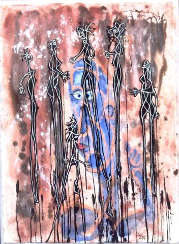 Sorcières (peinture et encre sur papier) - Mascas (pintura e tinta sus papel) - h. 81 cm
