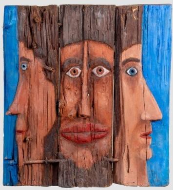Triptyque (bas-relief peint) - Triptic (bas-relèu pintat) - h. 50 cm